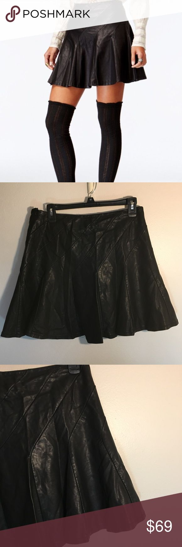 Free People Faux Leather Skirt New with tags Free People. Sexy leather look without it being super tight. Lining on the inside. Faux leather with skater skirt style. Subtle diagonal stitching that falls into the pleat. Free People Skirts Mini