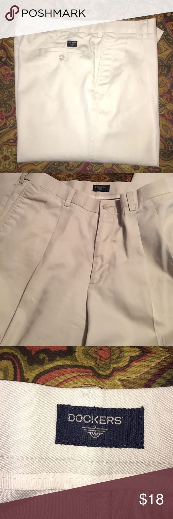 """Men's Khaki Pants By Dockers These pants are in GUC. My husband had these altered to a 30"""" length. The tag says 36X34"""" 😘 they run small in the waist. It measures 17"""" side to side at top of waist. More like a 34"""" so that's what I am listing them as. Dockers Pants Chinos & Khakis"""