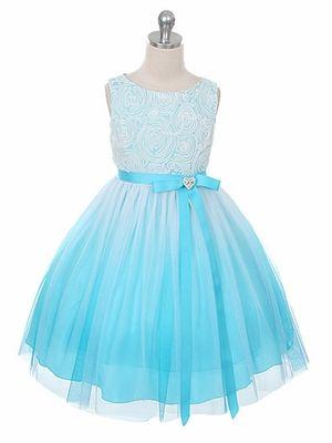 For rora: Aqua Ombré Dress w/ Rosette Bodice