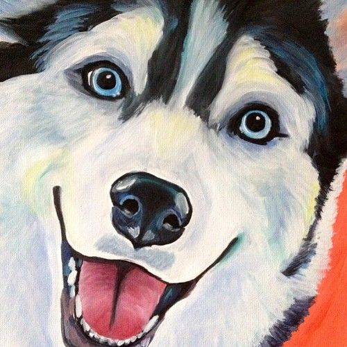 #husky $175  #dogpainting #gift order a custom pet portrait painting from photos of your pet! http://www.melissasmithart.com