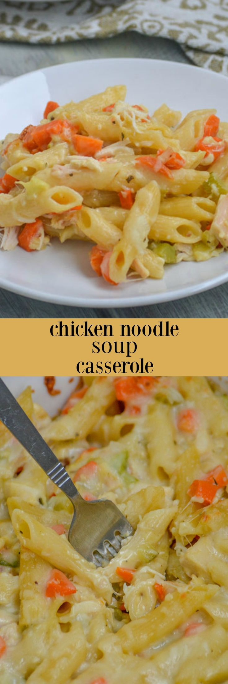 Chicken Noodle Soup Casserole | This creamy, cheesy Chicken Noodle Soup Casserole is the magical, home made (with love) cure for whatever ails you. Serve up a warm bowlful for lunch or dinner, and send your worries packin'! | 4 Sons 'R' Us