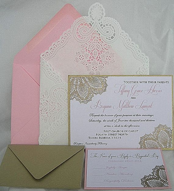 Lace Blush Pink And Gold Color: Blush Pink N Gold Metallic Embossed Doily Wedding