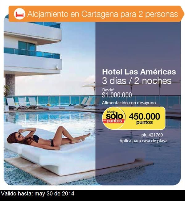 Esto es lo que me gusta de Catálogos Éxito: plu 421760 - Hotel Las Américas 3 días / 2 noches Desde* $1.000.000 *Alimentación con desayuno *Aplica para casa de playa