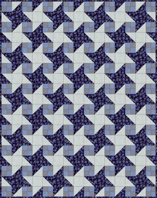 Milky Way Quilt in Blues and Neutrals. PDF free downloadable pattern at http://www.quiltime.com/quilts_pdf/milkyway.pdf