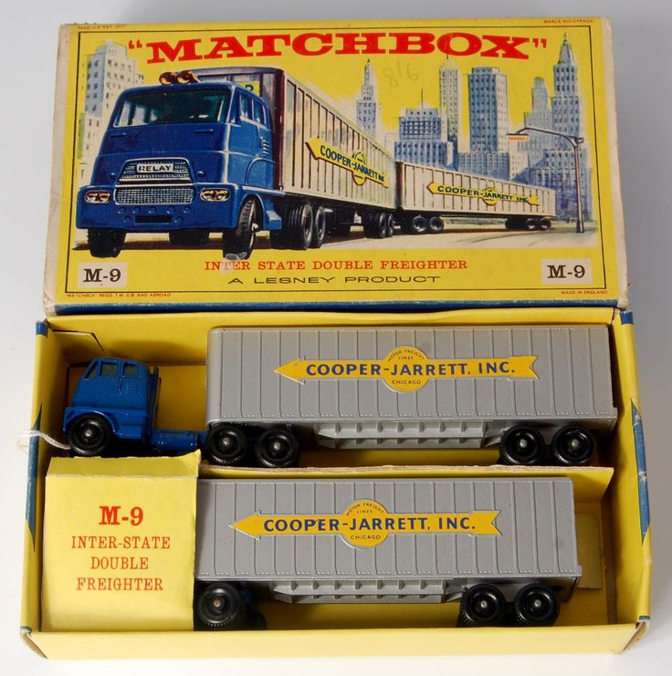Lot 2326 - Matchbox, Major Pack M-9 Inter-State double freighter Cooper-Jarrett Inc, in blue on yellow arrow