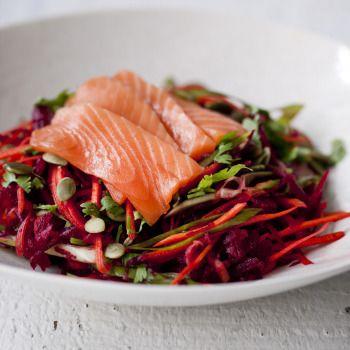 Raw Superfood Salad with Salmon Sashimi