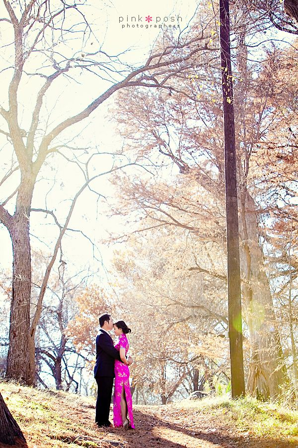 Pink Posh Photography | Austin Texas Engagement | Waterfall | Traditional Chinese Pink Cheongsam dress