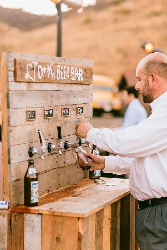 Want a really cool way to serve drinks at your wedding? How about creating a beer bar like this! We love this unique and really innovative idea. For more cool food and drinks inspo, check out our board.