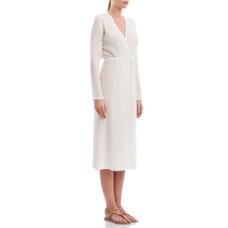 White crepe de silk wrap dress