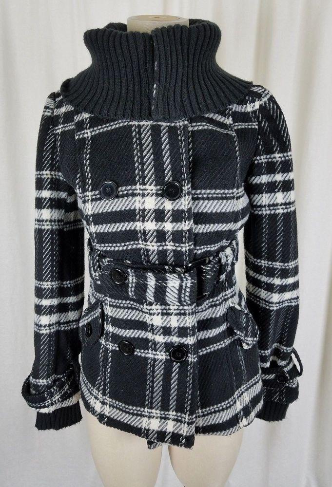 Tally Weijl Tartan Black Plaid Fleece Knit Funnel Neck Bomber Jacket Womens M 38 #TallyWeijl #Bomber #Outdoor