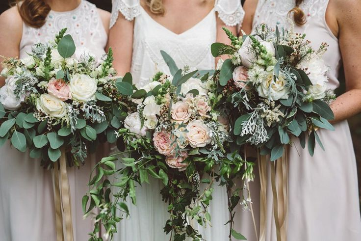 Ribbon Bouquets Roses Foliage Greenery Bride Flowers Bridesmaid Whimsical Boho Woodland Wedding http://katmervynphotography.com/