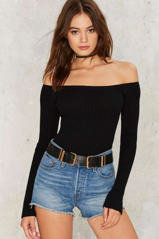 Barrett Off-the-Shoulder Ribbed Top - Black - Tops