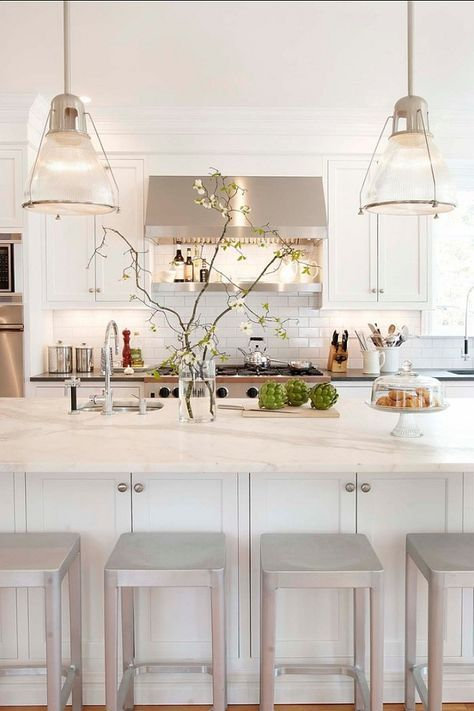 White Kitchen. Kitchen Cabinet Paint Color: Sherwin Williams Pure White SW  7005 Classic