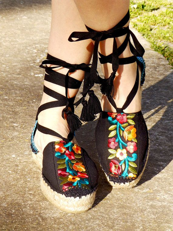 de9bc0ad12b Platform sandals with multicolored embroidery. Organic cotton ...