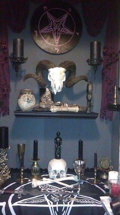 Satanic Altar Behind A Wall That Has A Secret Door
