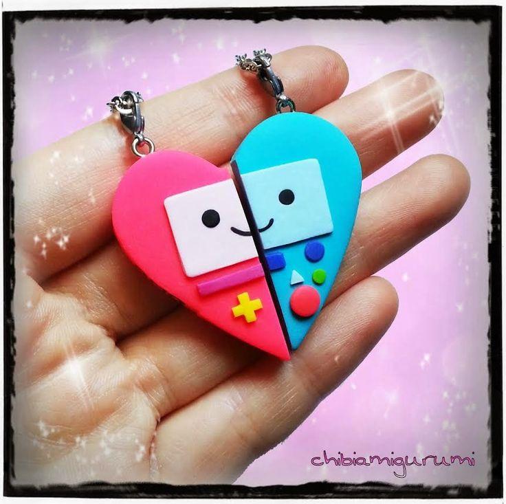 Mis chibis en Fimo y fieltro *^.^*: Colgante corazón de la amistad ...