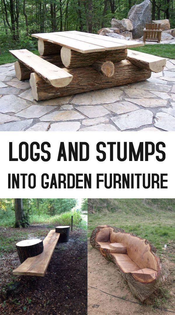 19 kreative Möglichkeiten, Stämme und Stümpfe in Gartenmöbel zu verwandeln