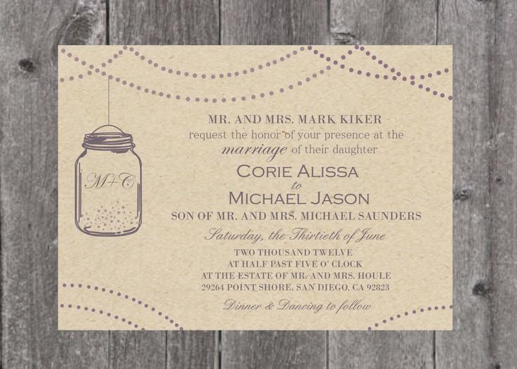 Mason Jar Wedding Invite