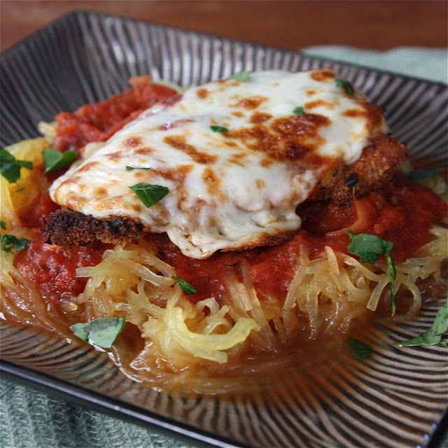 Spaghetti Squash Chicken Parm -Get Off Your Tush and Cook! Can't wait to try this!!