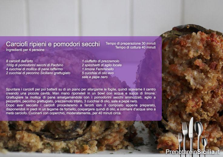 Questa Domenica Carciofi ripieni e pomodorini secchi!  Buon appetito da PrenotareinSicilia.it #cucina #ricette
