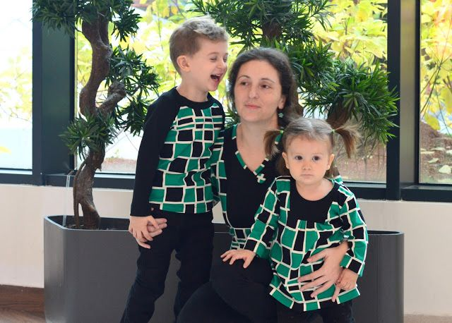 Me & kids in coordinating outfits - Lillian, Pocahontas and Bla-Bla tops in black, white & greens
