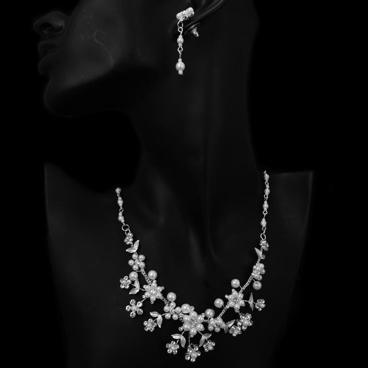 Pearl (Imitation) White Petite Floral Design Bridal Wedding Necklace Earring Set  $51.05
