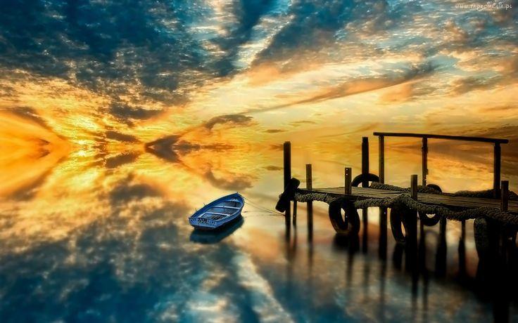 Jezioro, Łódka, Pomost, Zachód, Słońca