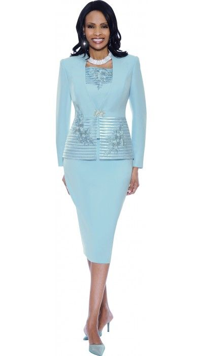 Baby blue ladies church suits 3393 by susanna susanna for Womens white dress suit wedding