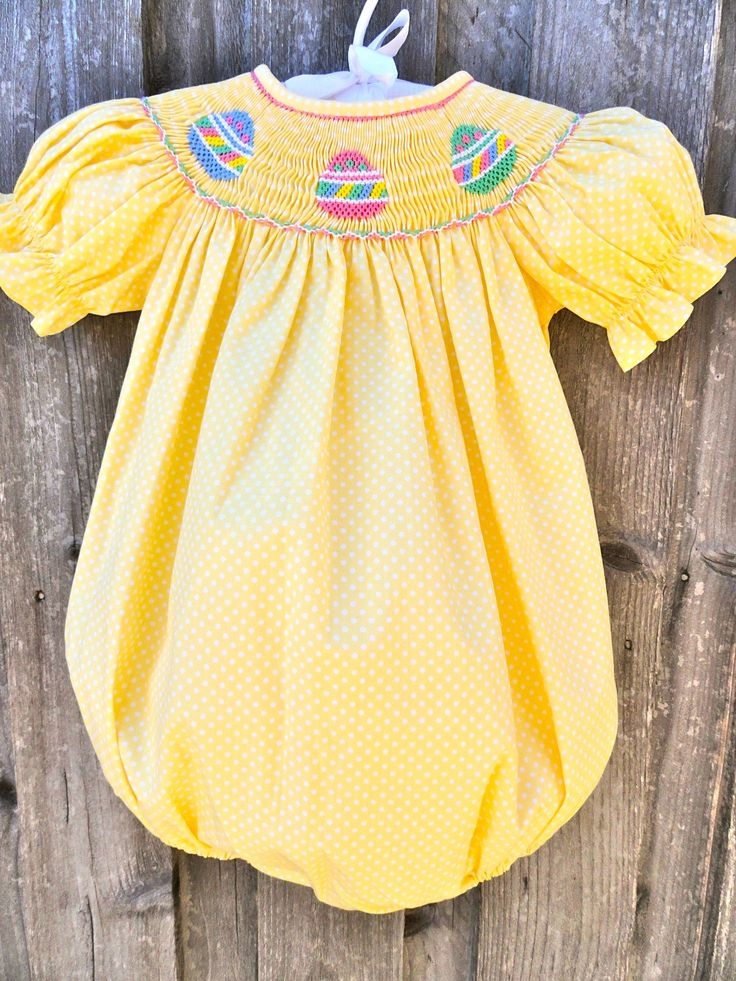 Yellow Polka Dot Smocked Easter Egg Bubble--- If I had a little girl she would be wearing this for East