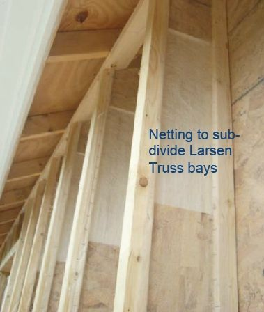 If you are using blown-in cellulose or fiberglass to insulate a Larsen truss walls, the insulation tends to migrate sideways, making dense-packing a challenge. One solution is to install air-permeable netting on each truss to separate the stud bays.