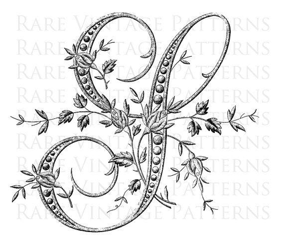 PLANTILLA de alfabeto FLORAL francés antiguo lujo letra grande - S- También tenemos el resto de este alfabeto de lujo disponibles en nuestra tienda Patron para bordar a mano vintage ***========================*** Busca algo especial para su proyecto sólo convo y verá lo que
