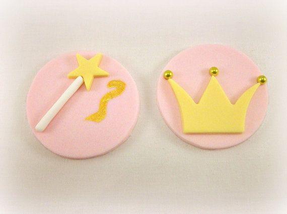 12 Princess Fairy Fondant Cupcake Toppers, Princess Birthday Cake Fondant Topper, Baby Girl Shower, Crown Topper, Fairy Magic Wand Fondant