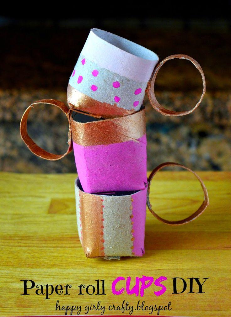 Paper roll cups DIY! / Φτιάχνουμε φλυτζανάκια απο ρολλό χαρτιού!