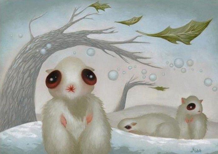 Странные животные-мутанты, последствия экологической катастрофы. Картины художницы Miso