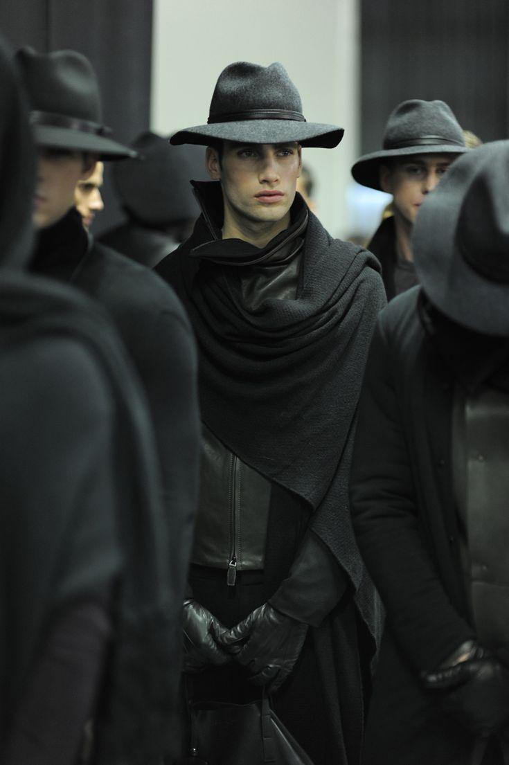 .Models, Fashion Weeks, Men In Black, Men Style, Men Fashion, Writing Inspiration, Scarves, Emporio Armani, Men Hats
