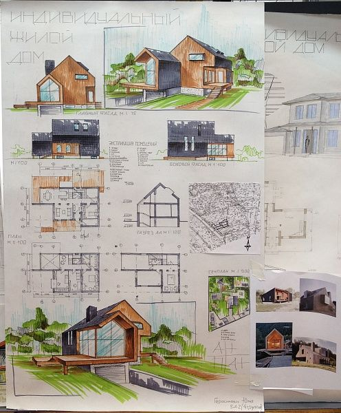 Collection of Hand Drawn Architecture presentation Sheets