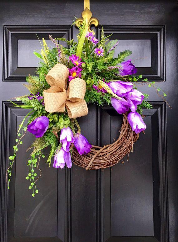 Spring Wreath Spring Door Wreaths Easter Door by FleursDeLaVie