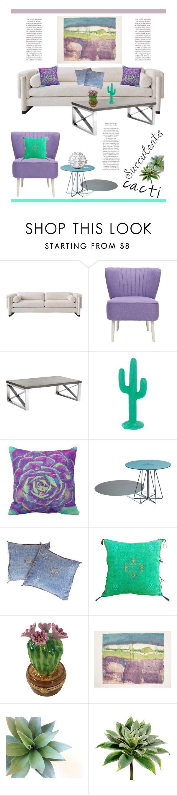 """Cacti + Succulents"" by dianefantasy on Polyvore featuring interior, interiors, interior design, home, home decor, interior decorating, Safavieh, Sunpan, Sunnylife and Slamp"