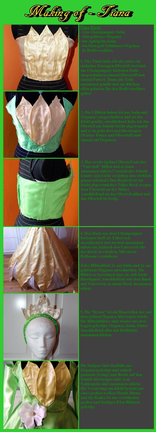 love this. ...................Tiana Dress Tutorial by Dira-Chan