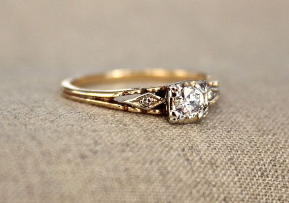 Three Stone Art Deco Diamond Engagement Ring by pebbleandpolish