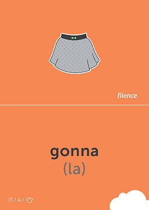 Gonna #CardFly #flience #clothes #italian #education #flashcard #language