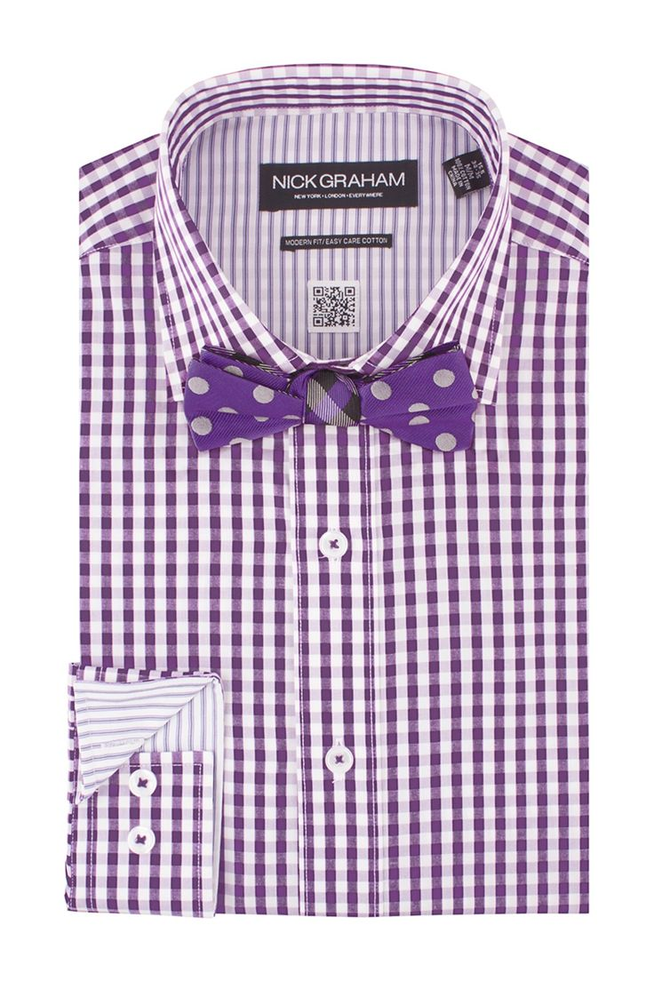 Gingham dress shirt polka dot bow tie set just some for Dress shirts and tie combos sale
