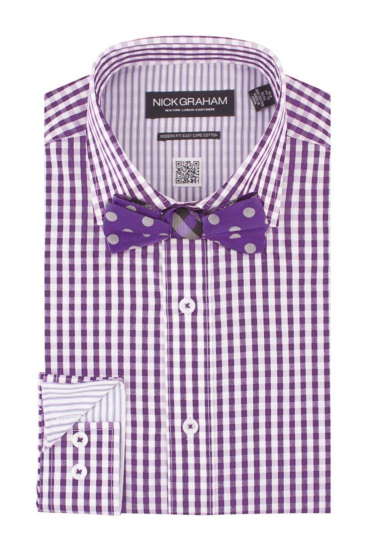 Gingham Dress Shirt Polka Dot Bow Tie Set T Q M