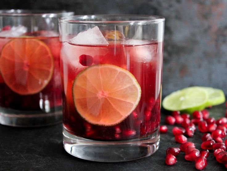Pomegranate Vodka Gimlet. The perfect, simple cocktail for winter entertaining!