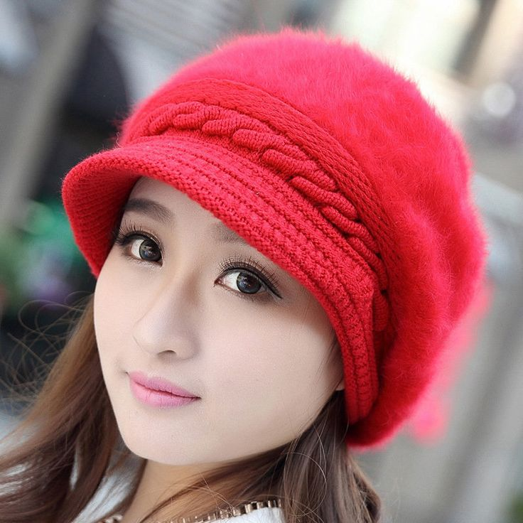 Women Girl Rabbit Fur Knitted Screw Beanie Hat Beret Snapback Winter Soft Cap at Banggood