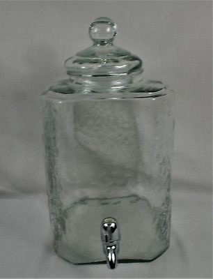 Green Glass Beverage Dispenser Large Pebbled Silver Spout 2 Gallon Water