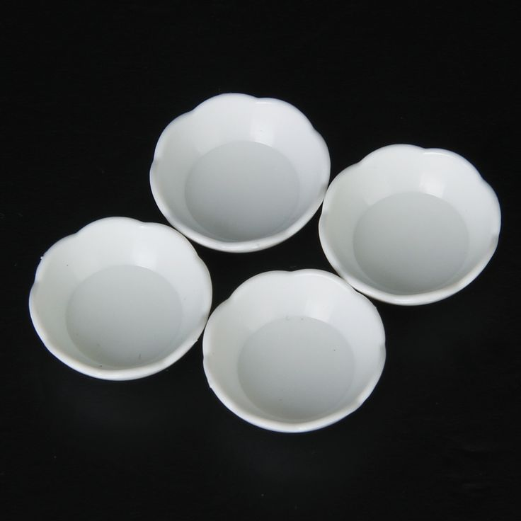 1,40 - plastic 1/12 Scale 4pcs White Fluted Edged Bowl Doll House Miniature Kitchen Accessories 1:12 Dollshouse Decorations Furniture Model Toy