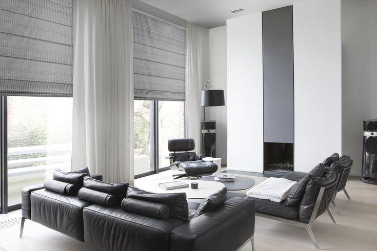 Copahome raamdecoratie grodijn, overgordijn en vouwgordijn translucent grijs/ La décoration de fenêtre. rideaux et store américains gris