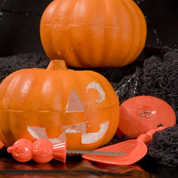 Carvable foam pumpkins Looks like they can be easily altered for a much nicer appearance.