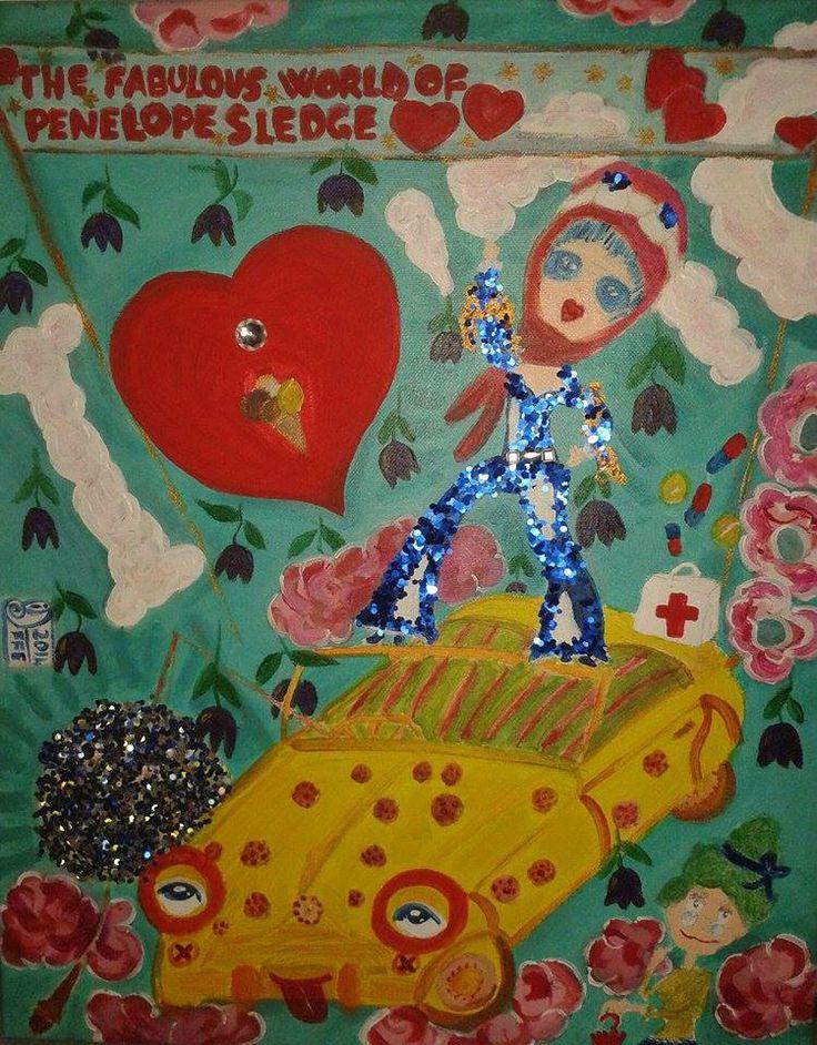 """""""Il  favoloso  mondo di Penelope Sledge – The Penelope Sledge's  fab world"""" by Dario Ferreri – DF Art ; 2014.  Acrilico su tela (Acrylic on canvas)  40x50cm https://www.facebook.com/DFpopsurrealism"""
